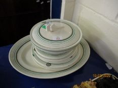 GROUP OF CLARICE CLIFF DINNER WARES DECORATED WITH A GREEN RINGED GEOMETRIC DESIGN COMPRISING TWO