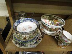 MIXED LOT OF DECORATIVE PLATES, BOWLS, CUPS ETC