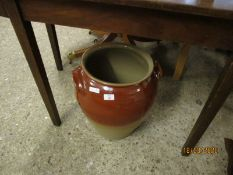 LARGE GLAZED TWO-TONE POT