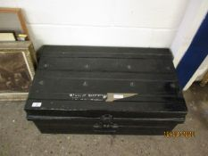 BLACK PAINTED TIN TRUNK