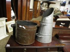 PRESSED COPPER COAL BUCKET AND A FURTHER GALVANISED COAL CHUTE (2)