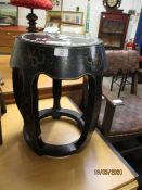 BARREL SHAPED PAINTED AND INLAID SMALL TABLE