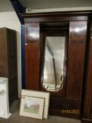 EDWARDIAN MAHOGANY AND SATINWOOD BOUND SINGLE MIRRORED DOOR WARDROBE WITH INLAID PANELS WITH FULL