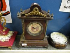 STAINED PINE FRAMED AND METAL MOUNTED CARRIAGE CLOCK