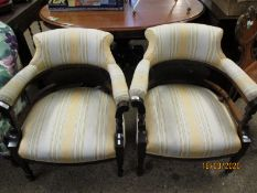 PAIR OF EDWARDIAN STRIPED UPHOLSTERED TUB ARMCHAIRS