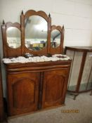 GOOD QUALITY ELM SERPENTINE FRONTED CREDENZA WITH TRIPLE MIRRORED BACK WITH SINGLE DRAWER OVER TWO