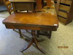 REGENCY STYLE FOLD OVER CARD TABLE WITH BAIZE LINED INTERIOR WITH TURNED COLUMN ON A REEDED