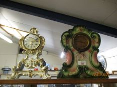 FRENCH PORCELAIN BLUE FLORAL AND GILT MANTEL CLOCK AND A FURTHER VICTORIAN MANTEL CLOCK (2)