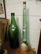 GOOD QUALITY OVERSIZED GREEN BOTTLE TOGETHER WITH A FURTHER LIQUOR BOTTLE (2)