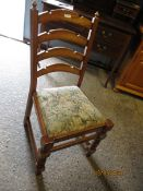 BEECHWOOD FRAMED LADDER BACK CHAIR WITH EMBROIDERED SEAT