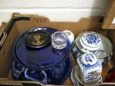 BOX CONTAINING BLUE GLASS TRAYS, WEDGWOOD, SILVER PLATED BOWL ETC