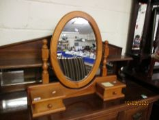 PINE OVAL MIRRORED DRESSING TABLE WITH TWO DRAWERS