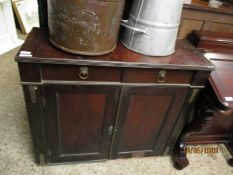 MAHOGANY SIDE CUPBOARD WITH TWO DRAWERS WITH LION HEAD HANDLES OVER TWO PANELLED CUPBOARD DOORS WITH