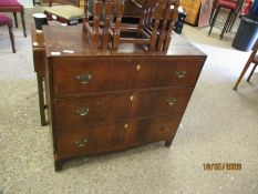 19TH CENTURY MAHOGANY THREE FULL WIDTH DRAWER CHEST WITH SATINWOOD BANDING