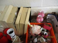 TRAY CONTAINING VINTAGE CHRISTMAS BAUBLES, GLASS VASES ETC