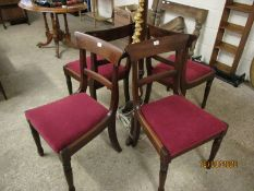 SET OF FOUR GEORGIAN MAHOGANY BAR BACK DINING CHAIRS WITH RED UPHOLSTERED DROP IN SEATS AND TURNED