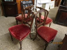 EDWARDIAN WALNUT CARVED SPLAT BACK DINING CHAIRS WITH RED UPHOLSTERED SEATS ON REEDED AND TURNED