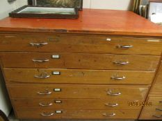 TEAK FRAMED SIX DRAWER PLAN CHEST WITH CHROME HANDLES