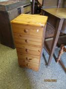 PINE FRAMED FIVE DRAWER PILLAR CHEST WITH TURNED KNOB HANDLES