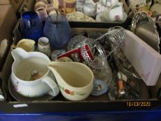 BOX CONTAINING MIXED GLASS WARES, JUGS, SILVER PLATED WARES ETC