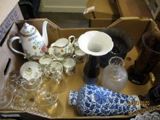 BOX OF COPELAND SPODE PART COFFEE SET, ORIENTAL VASE (A/F) ETC