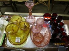 TRAY OF VARIOUS RED GLASS WARE AND DRESSING TABLE SETS