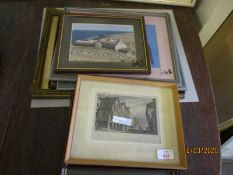 MIXED LOT OF PICTURES, PRINTS, ETCHINGS ETC