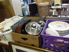 THREE BOXES OF KITCHEN WARES, PLATES ETC (3)