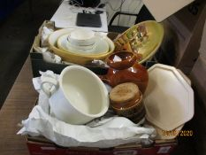 TWO BOXES OF KITCHEN WARES, BOWLS, CHAMBER POT ETC (2)