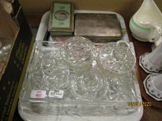 SILVER PLATED CIGARETTE BOX, GLASS DRESSING TABLE SET ETC
