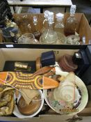 TWO BOXES CONTAINING MIXED WARES, JEWELLERY BOXES, GLASS DECANTERS, ORIENTAL TYPE BELL AND STAND (