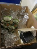 BOX OF CUT GLASS WARES, DECANTERS, ETC