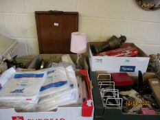 FOUR BOXES CONTAINING NON-WOVEN VISITOR COATS, MIXED LAMPS, SUNDRIES ETC (4)