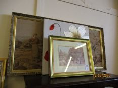 GROUP OF MIXED PRINTS, TAPESTRY PICTURE ETC