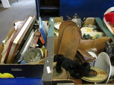 THREE BOXES OF MIXED RESIN CHESS PIECES, SPELTER HORSE, MIXED PICTURES ETC (3)