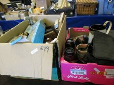TWO BOXES OF MIXED CAR BOOT SUNDRIES, TOW HITCH, BINOCULARS ETC