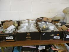 FOUR BOXES OF ELECTRICAL SUNDRIES, LIGHTS ETC