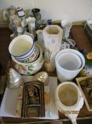 TWO TRAYS OF MIXED CHINA WARES, CONTINENTAL FIGURES ETC