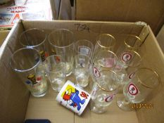 BOX OF BREWERY GLASS WARES ETC