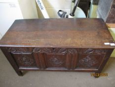 18TH CENTURY COFFER WITH THREE CARVED PANEL FRONT