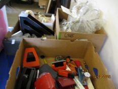 THREE BOXES OF MIXED HOLE PUNCHES, LIGHTS ETC