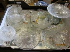 BOX OF MIXED PRESS GLASS WARES, PEDESTAL BOWLS, DISHES ETC