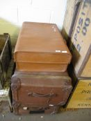 SUITCASE AND TWO VINTAGE TRUNKS