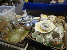 THREE BOXES OF CHINA WARES, PAIR OF GLASS DECANTERS, BLUE PRINTED PART CHINA WARES ETC (3)