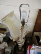 ONYX SIDE LAMP AND A FURTHER BRASS LAMP (2)