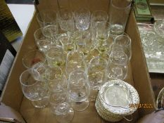 BOX OF MODERN GLASS WARES, TUMBLERS ETC