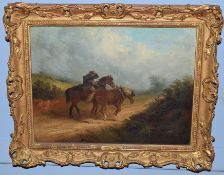 Thomas Smythe (1825-1906), Figure and horses in windy landscape, oil on canvas, signed lower left,