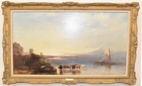 Henry Bright (1810-1873), Castle with Wherries and Cattle Watering at Dawn, oil on canvas, signed