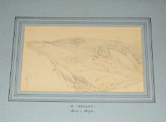 Henry Bright (1810-1873), Landcsape Studies, two pencil drawings, both monogrammed lower left, 16