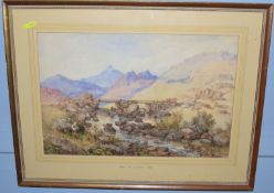Thomas Lound (1802-1861), 'Point Groyed, Capel Curig' and one similar, two watercolours, 35 x 53cm